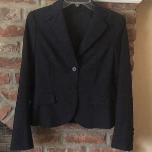 THEORY Womens Solid Navy Blue 2-Button Blazer sz 6